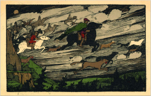"""""""Der Wilde Jäger"""": Historische Postkarte (Verlag R. Lederbogen, Halberstadt). Zeichnung: zeno.org (Zenodot Verlagsgesellschaft mbH)"""