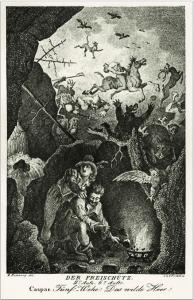 """""""Das Wilde Heer"""" in der Wolfsschlucht-Szene der Weber-Oper """"Der Freischütz"""": Zeitgenössische Illustration von Johann Heinrich Ramberg. Illustration: Wikipedia"""